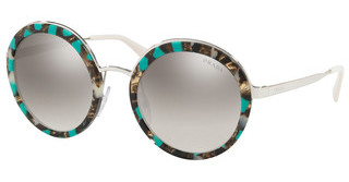 Prada PR 50TS KJJ5O0 GRADIENT GREY MIRROR SILVERSTRIPED GREY/GREEN